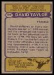 1979 Topps #109  David Taylor  Back Thumbnail