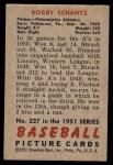 1951 Bowman #227  Bobby Shantz  Back Thumbnail