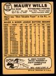 1968 Topps #175  Maury Wills  Back Thumbnail