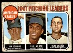 1968 Topps #10 ERR  -  Dean Chance / Jim Lonborg / Earl Wilson AL Pitching Leaders Front Thumbnail