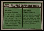 1975 Topps #216   -  Carl Eller / Lyle Alzado All-Pro Defensive Ends Back Thumbnail