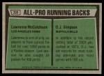 1975 Topps #209   -  O.J. Simpson / Lawrence McCutcheon All-Pro Running Backs Back Thumbnail