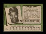 1971 Topps #243  Carlos May  Back Thumbnail