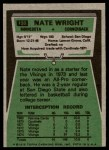 1975 Topps #130  Nate Wright  Back Thumbnail