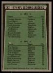 1975 Topps #4   -  Chester Marcol / Roy Gerela Scoring Leaders Back Thumbnail