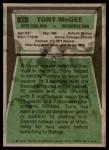 1975 Topps #41  Tony McGee   Back Thumbnail
