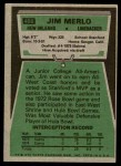 1975 Topps #408  Jim Merlo  Back Thumbnail