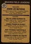 1973 Topps #237 ORG  -  Eddie Mathews / Lew Burdette / Jim Busby / Roy Hartsfield / Ken Silvestri Braves Leaders Back Thumbnail