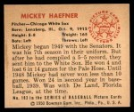 1950 Bowman #183  Mickey Haefner  Back Thumbnail