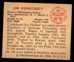 1950 Bowman #226  Jim Konstanty  Back Thumbnail