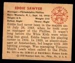 1950 Bowman #225  Eddie Sawyer  Back Thumbnail