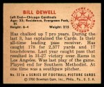 1950 Bowman #22  Billy Dewell  Back Thumbnail