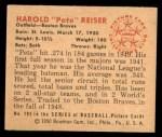 1950 Bowman #193  Pete Reiser  Back Thumbnail