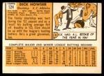 1963 Topps #124  Dick Howser  Back Thumbnail