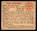 1950 Bowman #156  Fred Sanford  Back Thumbnail