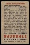 1951 Bowman #185  Jimmy Bloodworth  Back Thumbnail