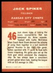 1963 Fleer #46  Jack Spikes  Back Thumbnail