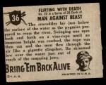 1950 Topps Bring Em Back Alive #36   Flirting With Death Back Thumbnail