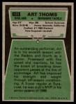 1975 Topps #123  Art Thoms  Back Thumbnail
