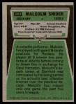 1975 Topps #503  Malcolm Snider  Back Thumbnail