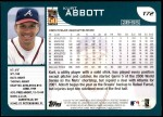 2001 Topps Traded #72 T Kurt Abbott  Back Thumbnail