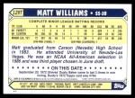 2001 Topps Traded #126 T  -  Matt Williams 87  Back Thumbnail