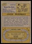 1974 Topps #271  Jack Rudnay  Back Thumbnail
