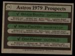 1979 Topps #718   -  Bruce Bochy / Mike Fischlin / Don Pisker Astros Prospects   Back Thumbnail