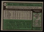 1979 Topps #341  Willie Upshaw  Back Thumbnail