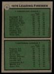 1979 Topps #8   -  Rollie Fingers / Goose Gossage Leading Firemen Back Thumbnail