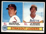 1979 Topps #6   -  J.R. Richard / Nolan Ryan Strikeout Leaders   Front Thumbnail