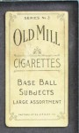 1910 T210-3 Old Mill Texas League  Alexander  Back Thumbnail