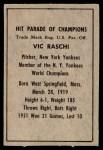 1952 Berk Ross  Vic Raschi  Back Thumbnail
