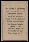 1952 Berk Ross  Sheldon Jones  Back Thumbnail