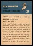 1962 Fleer #37  Ken Adamson  Back Thumbnail