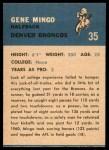 1962 Fleer #35  Gene Mingo  Back Thumbnail