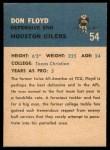 1962 Fleer #54  Don Floyd  Back Thumbnail