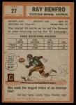 1962 Topps #27  Ray Renfro  Back Thumbnail