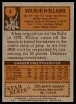 1978 Topps #4  Wilbur Holland  Back Thumbnail