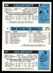 1980 Topps   -  Joe Bryant / Kareem Abdul-Jabbar / Calvin Natt 217 / 8 / 200 Back Thumbnail