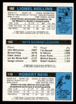 1980 Topps   -  Robert Reid / Mike Newlin / Lionel Hollins 110 / 153 / 182 Back Thumbnail