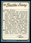 1964 Topps Beatles Diary #25 A John Lennon  Back Thumbnail