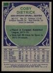 1975 Topps #273  Coby Dietrick  Back Thumbnail