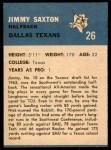 1962 Fleer #26  Jimmy Saxton  Back Thumbnail