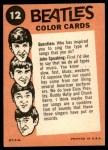1964 Topps Beatles Color #12   John, Ringo and Paul Back Thumbnail