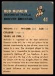 1962 Fleer #41  Bud McFadin  Back Thumbnail