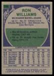 1975 Topps #198  Ron Williams  Back Thumbnail
