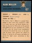 1962 Fleer #67  Alan Miller  Back Thumbnail