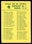 1967 Philadelphia #197   Checklist 1 Front Thumbnail
