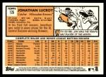 2012 Topps Heritage #126  Jonathan Lucroy  Back Thumbnail